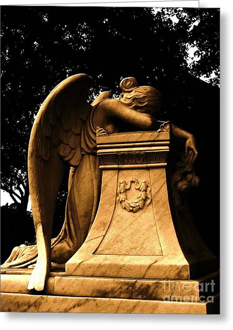 Landscape Framed Prints Sculptures Greeting Cards - Weeping Angel in Sepia Greeting Card by Nathan Little