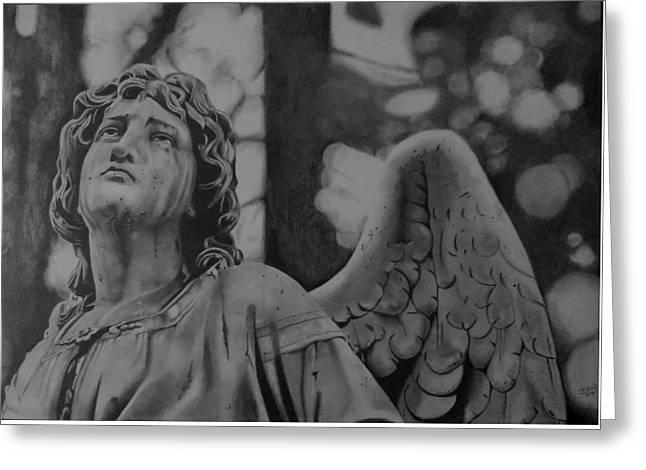 Weeping Drawings Greeting Cards - The Weeping Angel Greeting Card by John Wood