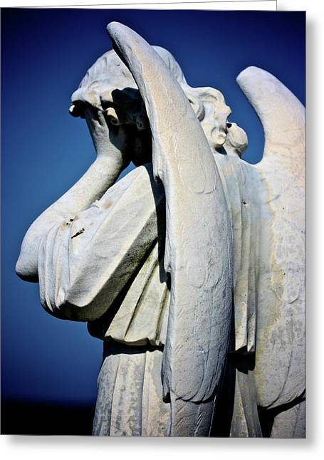 Headstones Greeting Cards - Weeping Angel Greeting Card by KC Moffatt