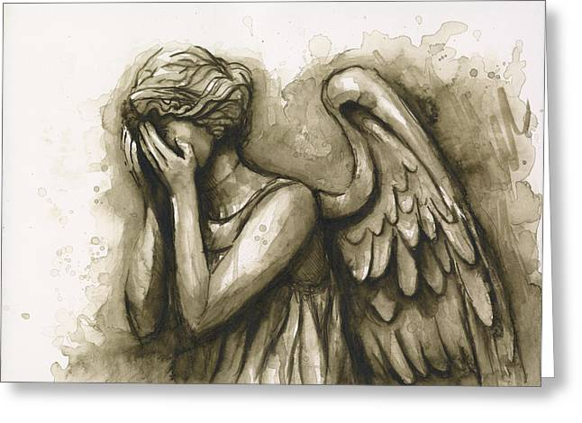 Doctor Who Greeting Cards - Weeping Angel Greeting Card by Olga Shvartsur