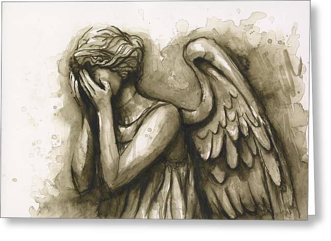 Shows Greeting Cards - Weeping Angel Greeting Card by Olga Shvartsur
