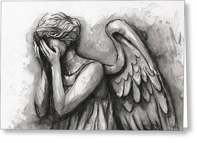 Cried Greeting Cards - Weeping Angel Watercolor Greeting Card by Olga Shvartsur
