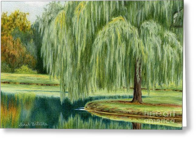 Under The Willow Tree Greeting Card by Sarah Batalka