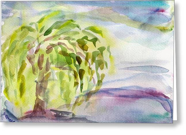 Weeping Greeting Cards - Weeping Willow in Rain on Lake Zurich Greeting Card by Tomer Rosen Grace