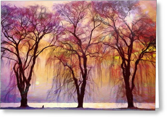 Weeping Willow Oh Weep No More Greeting Card by Georgiana Romanovna