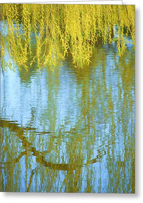Willow Lake Greeting Cards - Weeping Willow - Reflections in Water Greeting Card by Nikolyn McDonald
