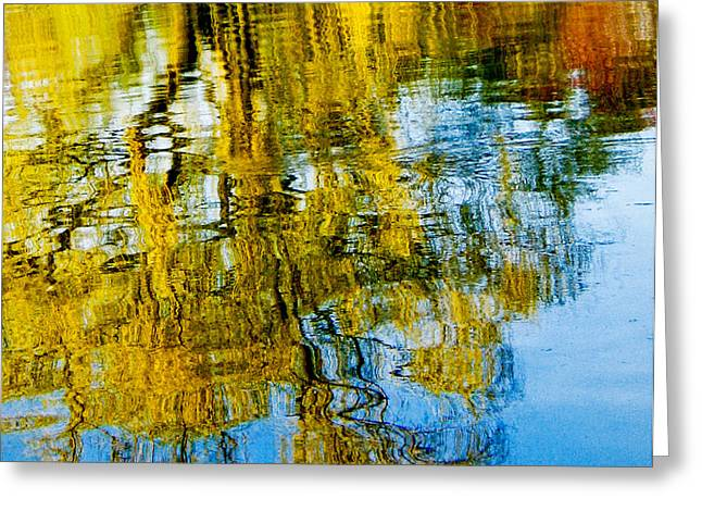 Reflective Lake Weeping Willow Tree Abstract Greeting Card by Carol F Austin