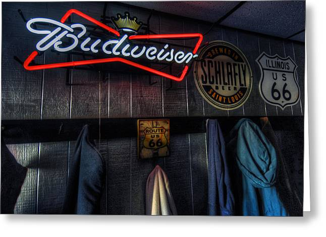 Hamels Digital Greeting Cards - Weezys Route 66 Bar and Grill Greeting Card by Kevin Schuchmann