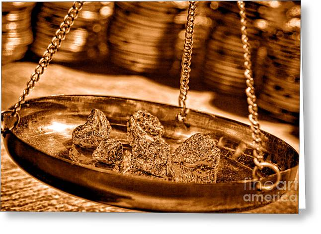 Weighing Gold - Sepia Greeting Card by Olivier Le Queinec