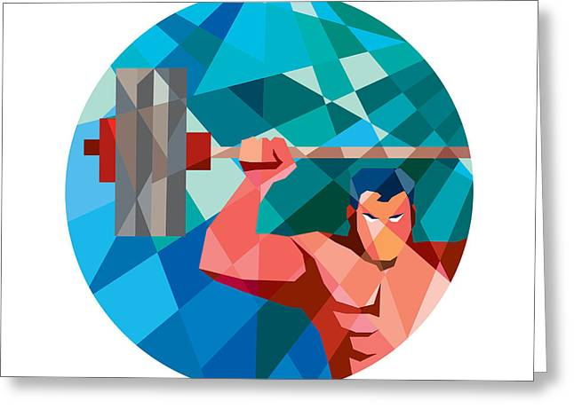Snatch Greeting Cards - Weightlifter Snatch Grab Lifting Barbell Low Polygon Greeting Card by Aloysius Patrimonio