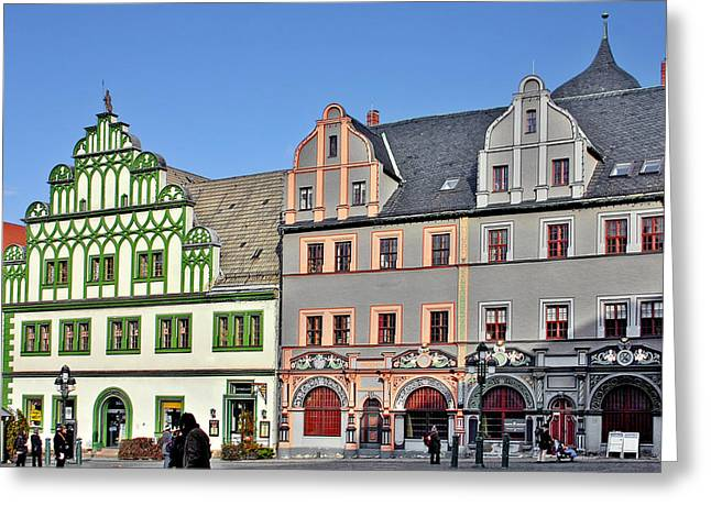 Marketplace Greeting Cards - Weimar Germany - A town of timeless appeal Greeting Card by Christine Till