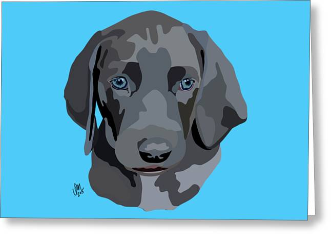 Puppy Digital Greeting Cards - Weimaraner Greeting Card by Ian Mutton