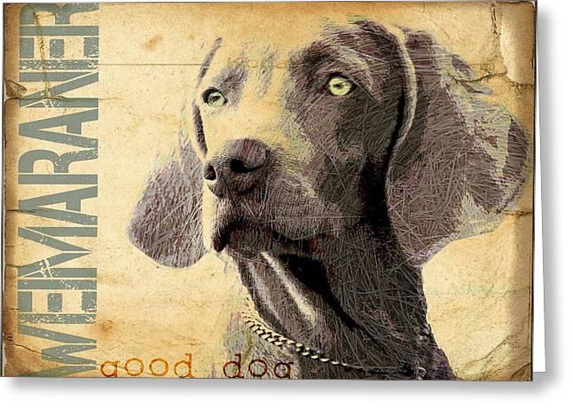 Weimaraner Puppy Greeting Cards - Weimaraner Greeting Card by Wendy Presseisen