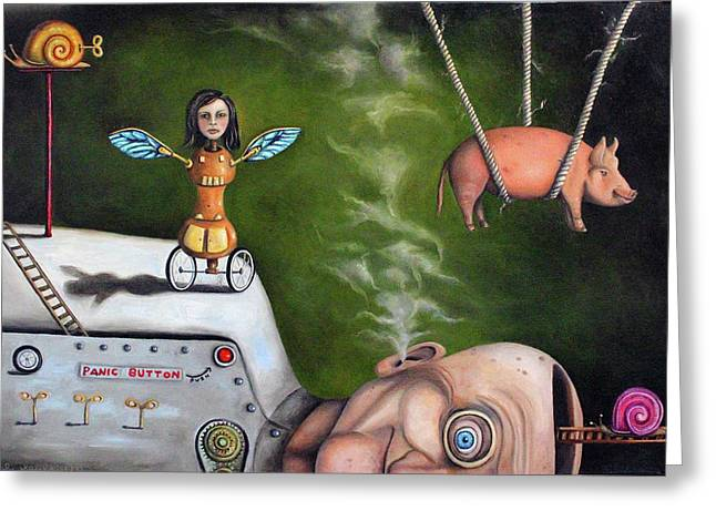 Weird Science-the Robot Factory Greeting Card by Leah Saulnier The Painting Maniac