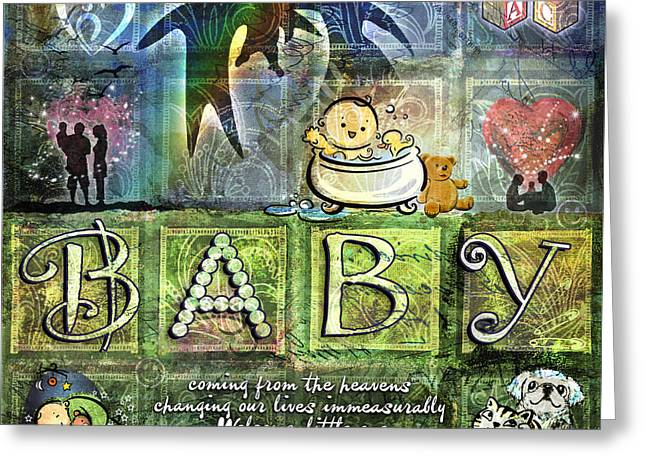 Babies Digital Art Greeting Cards - Welcome Baby Greeting Card by Evie Cook