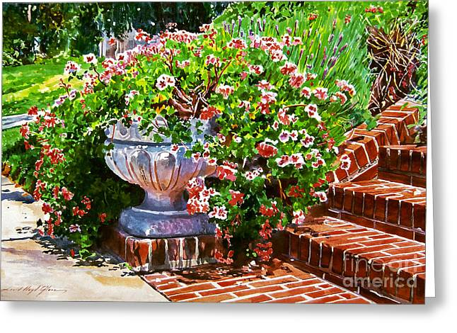 Welcome Flower Urn Steps Greeting Card by David Lloyd Glover