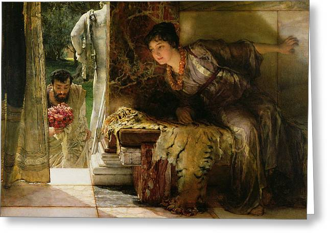 Gold Necklace. Greeting Cards - Welcome Footsteps Greeting Card by Sir Lawrence Alma-Tadema