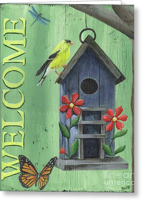 Welcome Goldfinch Greeting Card by Debbie DeWitt