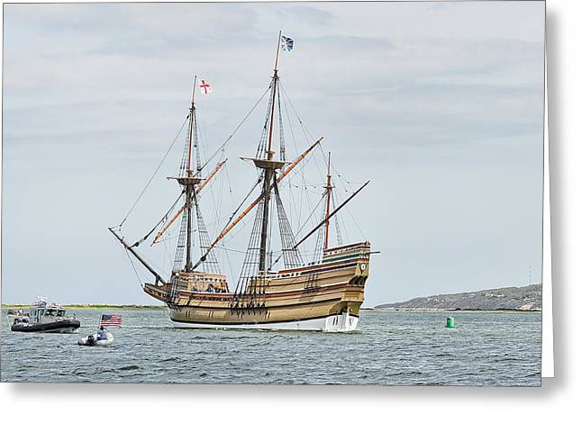 New England Ocean Greeting Cards - Welcome Home Mayflower II 2015 Greeting Card by Joanne Brown