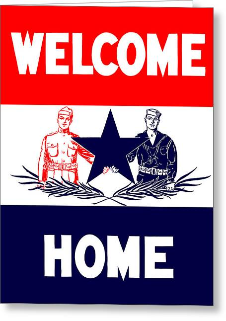 Historic Home Mixed Media Greeting Cards - Vintage Welcome Home Military Sign Greeting Card by War Is Hell Store