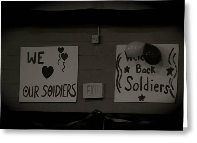 Iraq Posters Greeting Cards - Welcome Home Soldiers Greeting Card by Aimee Galicia Torres