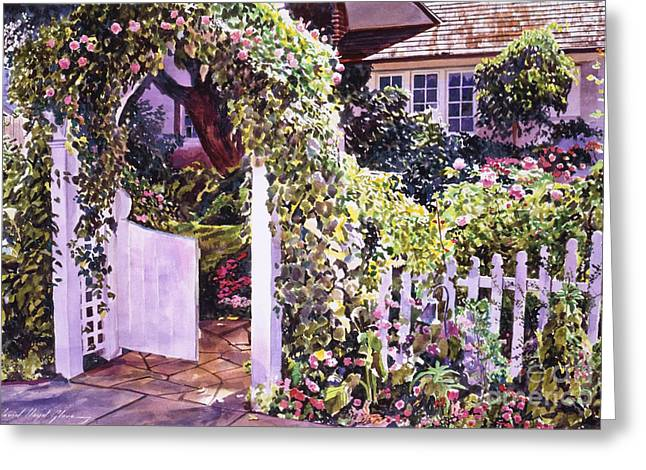Welcome Rose Covered Gate Greeting Card by David Lloyd Glover