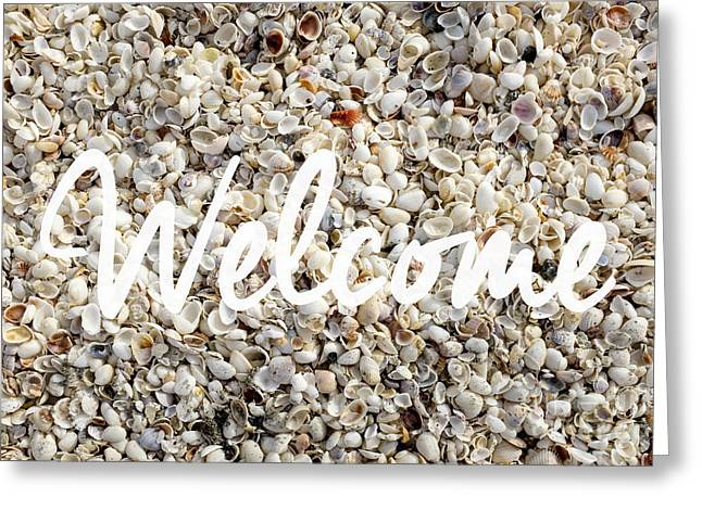 Shell Texture Greeting Cards - Welcome Seashell Background Greeting Card by Edward Fielding