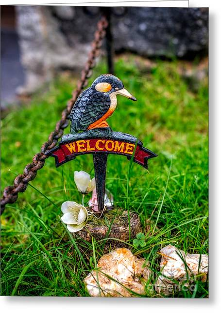 Welcome Sign Greeting Card by Adrian Evans