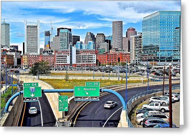 Welcome To Boston Greeting Card by Frozen in Time Fine Art Photography