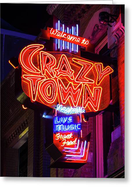 Welcome To Crazy Town - Nashville Greeting Card by Stephen Stookey