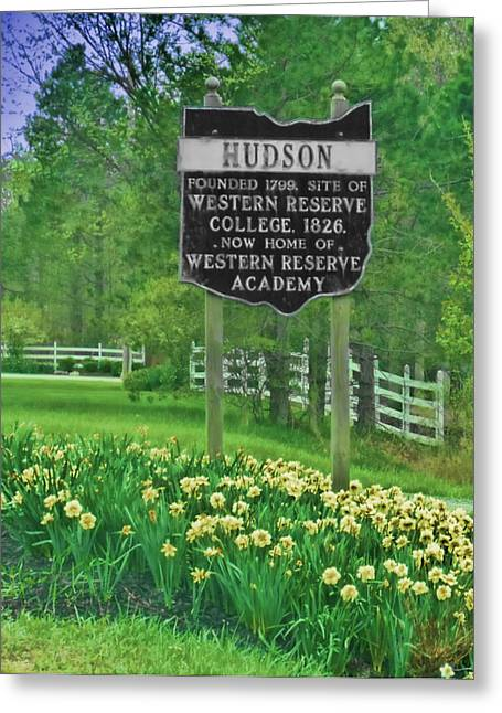 Akron Greeting Cards - Welcome To Hudson Ohio Greeting Card by Kenneth Krolikowski