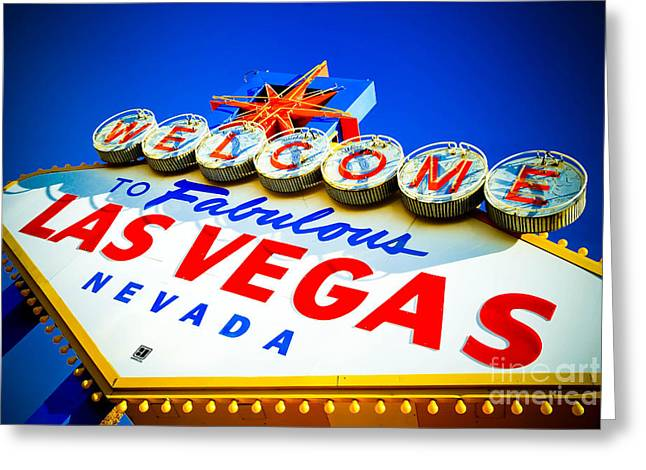 Neon Greeting Cards - Welcome to Las Vegas Sign Greeting Card by Amy Cicconi