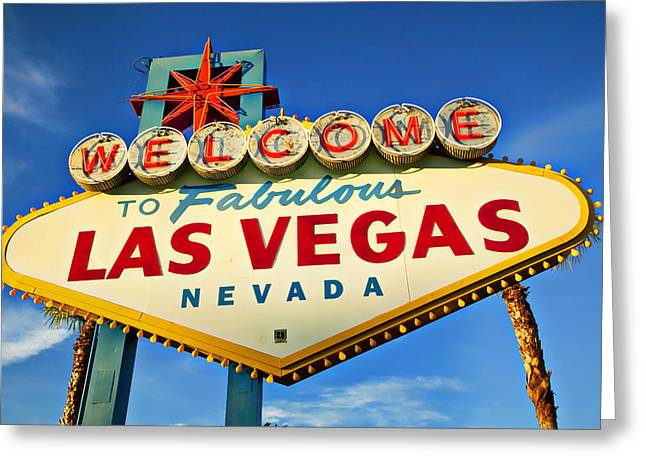Resort Photographs Greeting Cards - Welcome to Las Vegas sign Greeting Card by Garry Gay