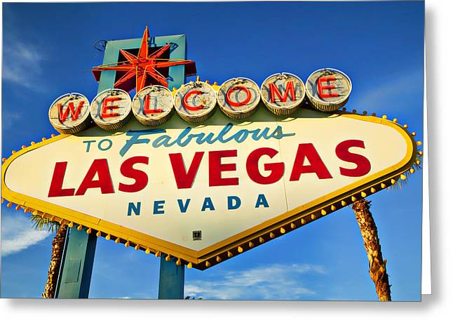 Welcome To Las Vegas Sign Greeting Card by Garry Gay