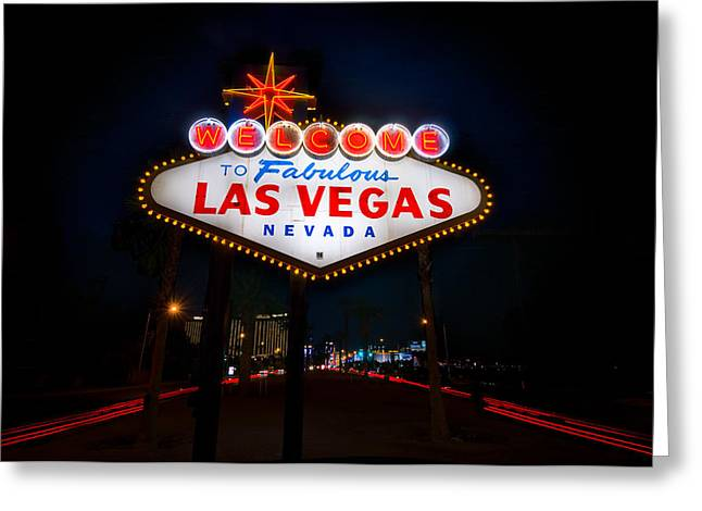 Casinos Greeting Cards - Welcome to Las Vegas Greeting Card by Steve Gadomski