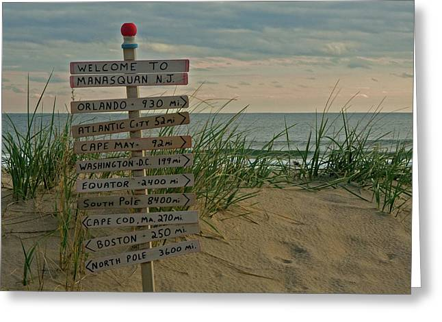 Sign Photographs Greeting Cards - Welcome to Manasquan Greeting Card by Robert Pilkington