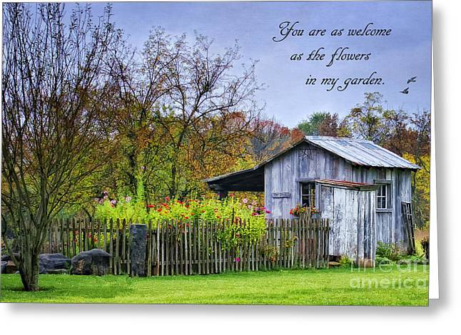 Sheds Greeting Cards - Welcome to My Garden Greeting Card by Priscilla Burgers
