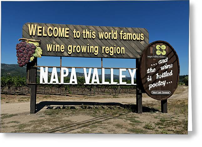 Grape Vineyard Greeting Cards - Welcome To Napa Valley Greeting Card by Mountain Dreams