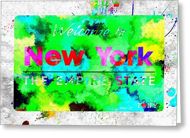 Welcome To New York The Empire State Greeting Card by Daniel Janda
