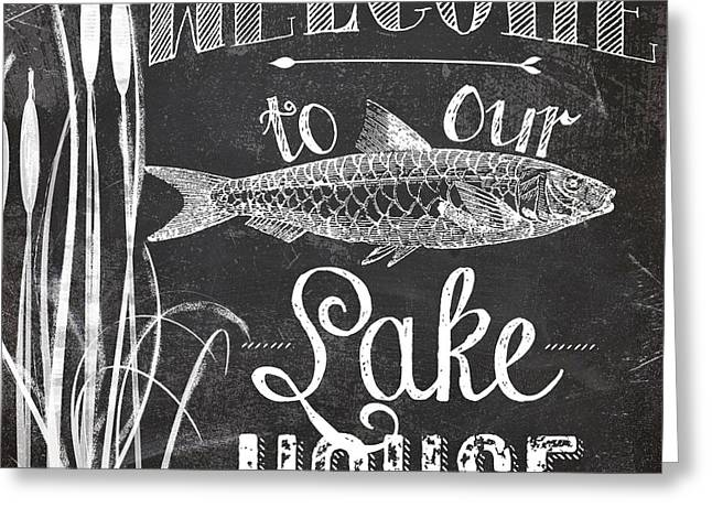 Welcome To Our Lake House Sign Greeting Card by Mindy Sommers
