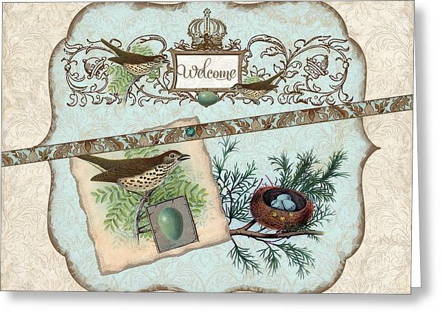 Chic Greeting Cards - Welcome to our Nest Greeting Card by Audrey Jeanne Roberts