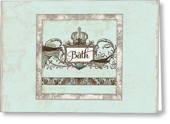 Chic Greeting Cards - Welcome to our Nest - Bath Vintage Birds w Crown Greeting Card by Audrey Jeanne Roberts
