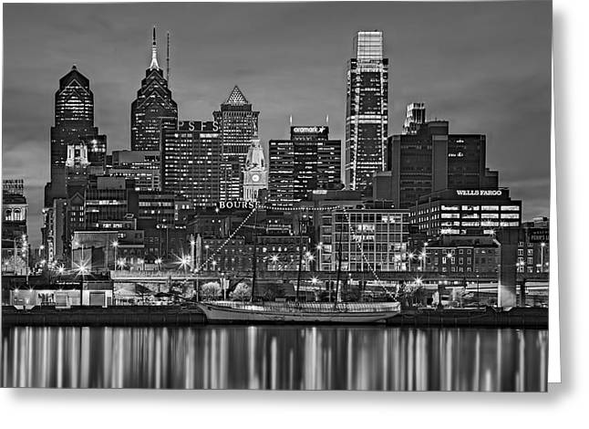 Skylines Greeting Cards - Welcome To Penns Landing BW Greeting Card by Susan Candelario