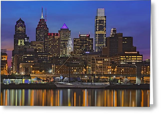 Welcome To Penn's Landing Greeting Card by Susan Candelario
