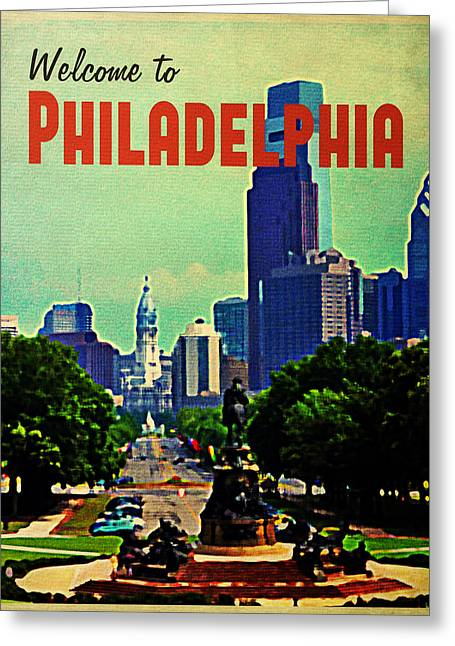 Welcome To Philadelphia Greeting Card by Flo Karp