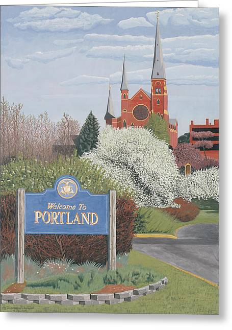 Maine Spring Paintings Greeting Cards - Welcome to Portland Greeting Card by Dominic White