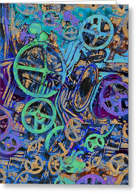 Red Green And Gold Abstracts Greeting Cards - Welcome To The Machine Blue Greeting Card by Tony Rubino