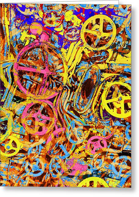 Car Part Mixed Media Greeting Cards - Welcome To The Machine Yellow Greeting Card by Tony Rubino