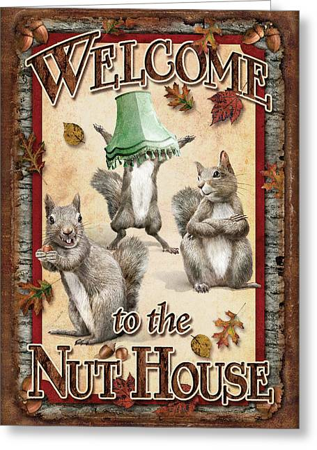 Funny Signs Greeting Cards - Welcome To The Nut House Greeting Card by JQ Licensing