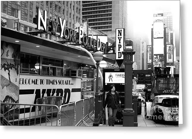 Welcome To Times Square Nypd Greeting Card by John Rizzuto